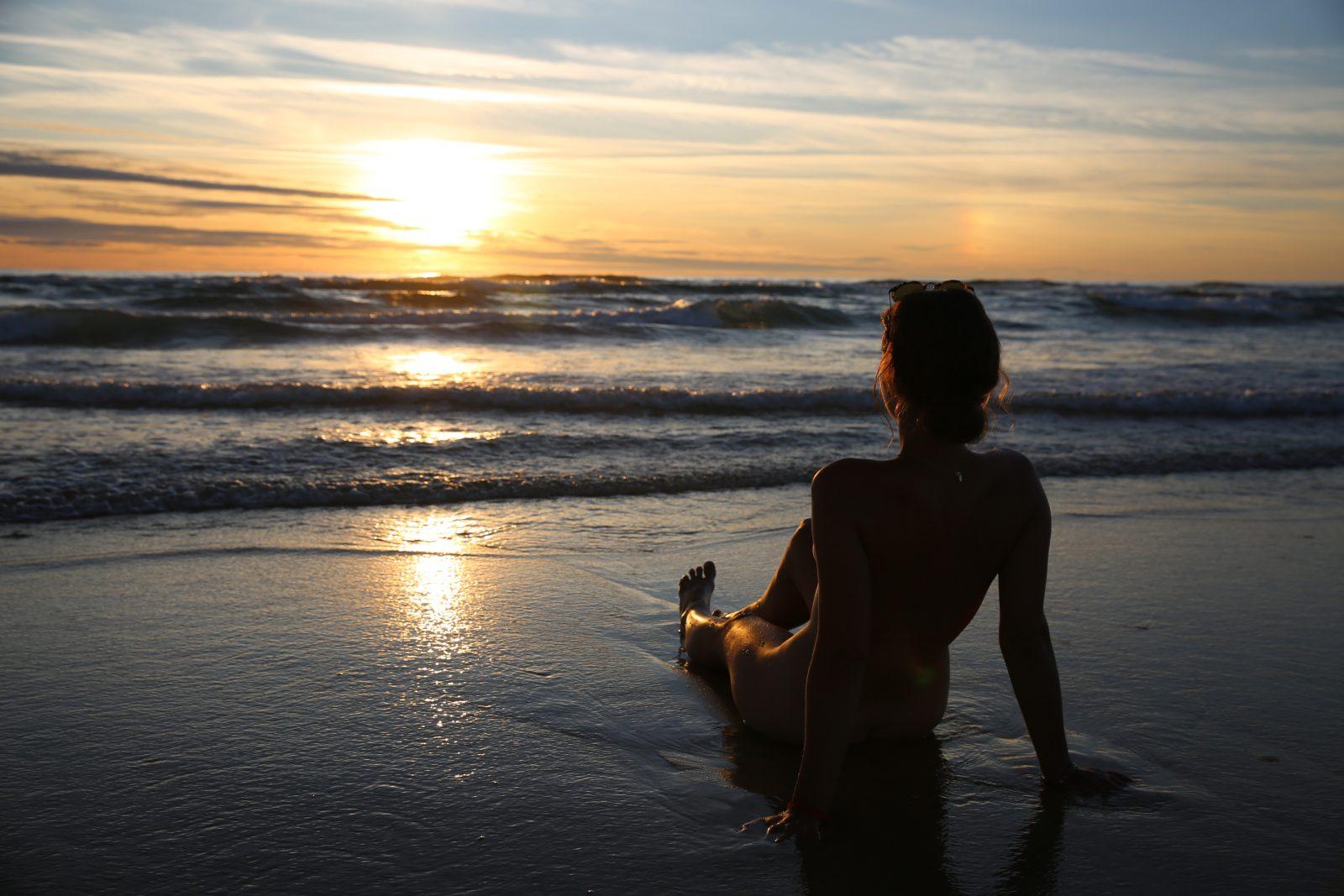 coucher de soleil, côte atlantique